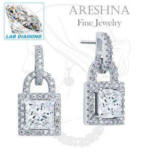 2ct Lab Diamond Princess Cut Earrings